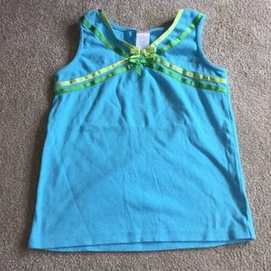 Blue tank with green and yellow ribbon